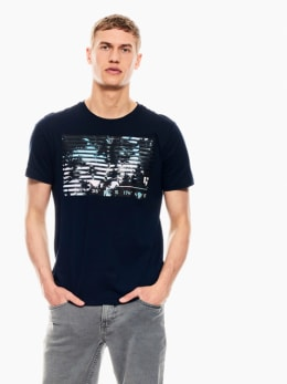 garcia t-shirt met opdruk donkerblauw q01002