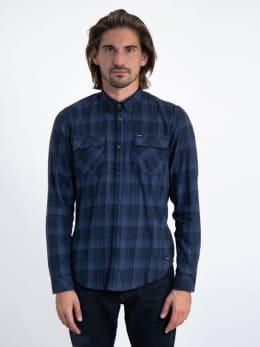 garcia geruit overhemd j91231 blauw