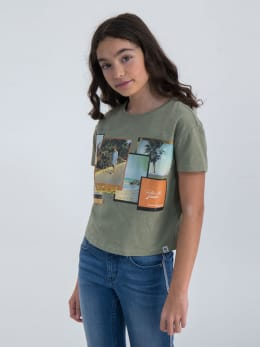 garcia t-shirt met cropped fit o02402 groe