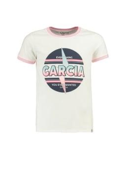 garcia t-shirt met kleurrijke opdruk ge920401 wit