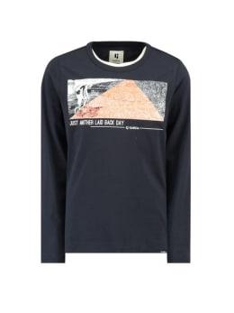 garcia t-shirt met opdruk g93404 donkerblauw