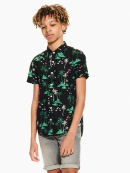 garcia overhemd met allover print zwart q03430