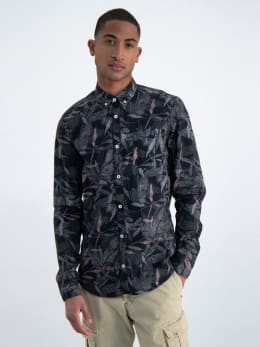 garcia overhemd met allover print n01233 zwart