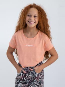 garcia t-shirt met knoopdetail n02603 oranje