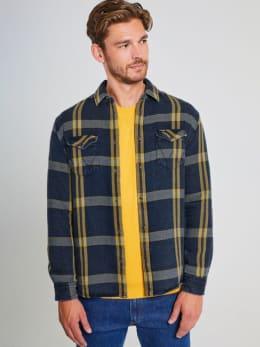 wrangler geruit overhemd w5a7mty02 blauw-geel