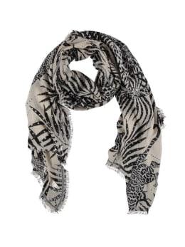 sarlini sjaal met allover print zwart-wit