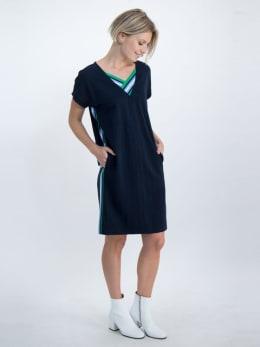 garcia jurk met gestreepte tapes o00080 donkerblauw
