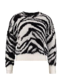 sisterspoint fluffy trui met print hilfa zwart-wit