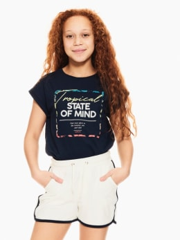 garcia t-shirt met opdruk donkerblauw q02401