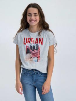 garcia t-shirt met opdruk n02602 grijs