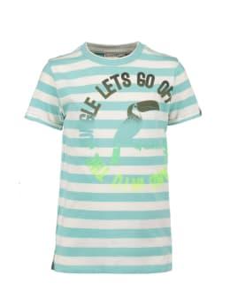garcia t-shirt lichtblauw gestreept p05402