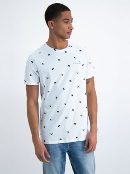 garcia t-shirt met allover print o01005 wit