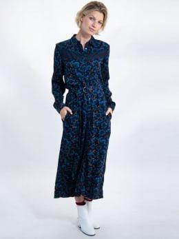 garcia lange jurk met allover print j90286 blauw