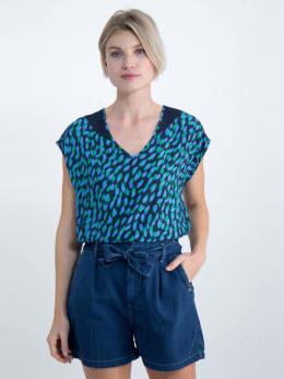 garcia blouse met allover print o00032 donkerblauw