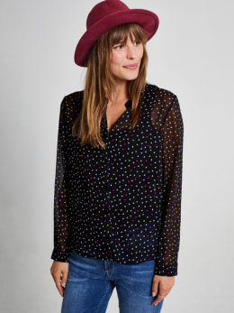 yezz blouse met allover print py900807 zwart
