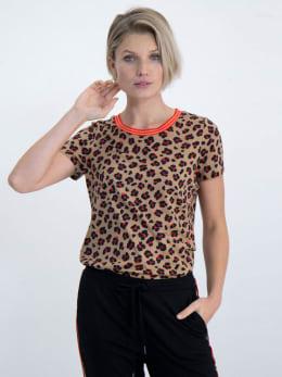 garcia t-shirt met allover panterprint n00209 bruin
