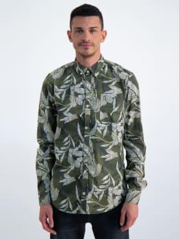 garcia overhemd met allover print n01233 groen