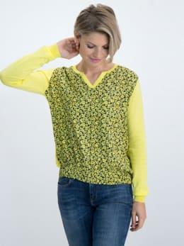 garcia trui met geweven bloemendessin m00043 geel