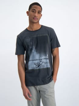 garcia t-shirt met fotoprint n01202-3047 grijs