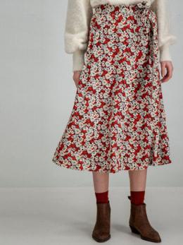 garcia lange rok met allover print h90320 rood