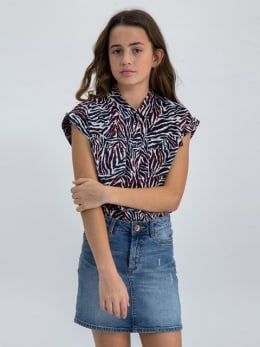 garcia blouse met allover print n02634 wit