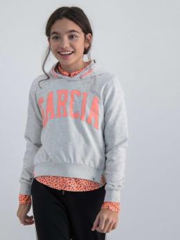 garcia hoodie met tekstopdruk gs020101 grijs