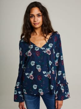 image blouse met allover print pi801055 blauw