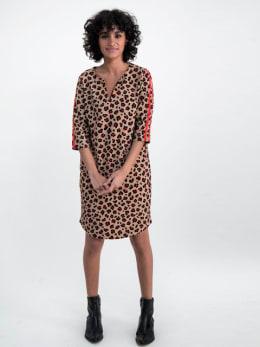 garcia jurk met panterprint n00280 bruin