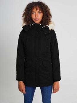 cars jas met bontkraag corallia zwart