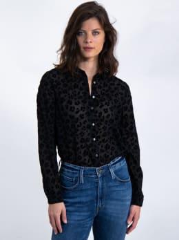 garcia blouse met panterprint l90032 zwart