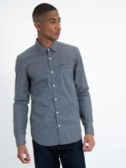 garcia overhemd met allover print l91026-292 blauw