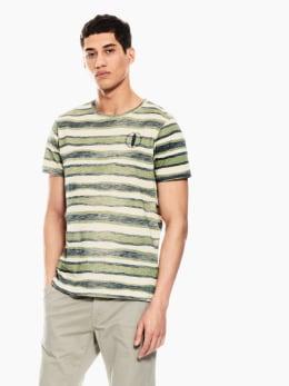 garcia t-shirt gestreept groen p01203