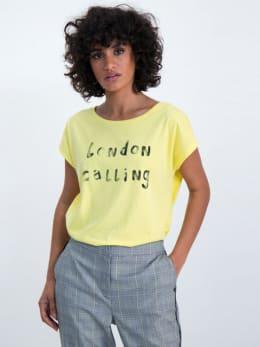 garcia t-shirt met tekstprint m00001 geel