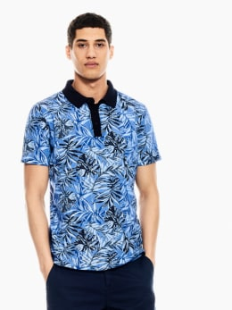 garcia polo met allover print donkerblauw q01080