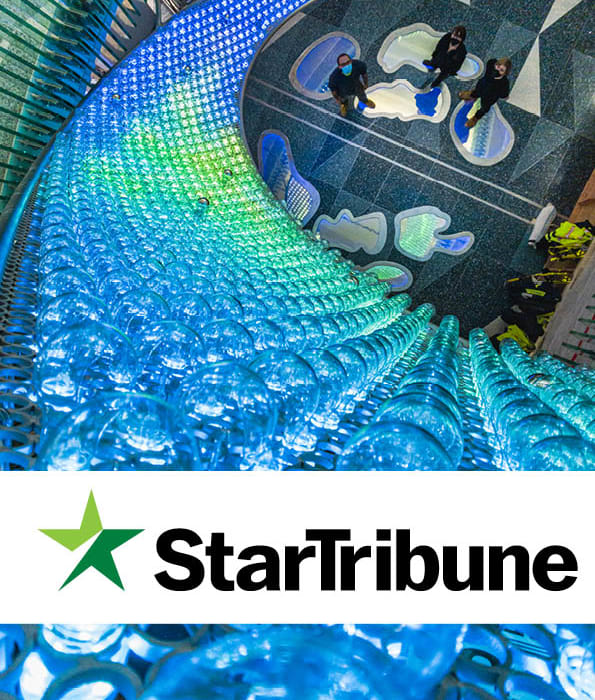 """Star Tribune Article """"New sculpture opens at MSP Airport, offering passengers a chance to smile and play"""