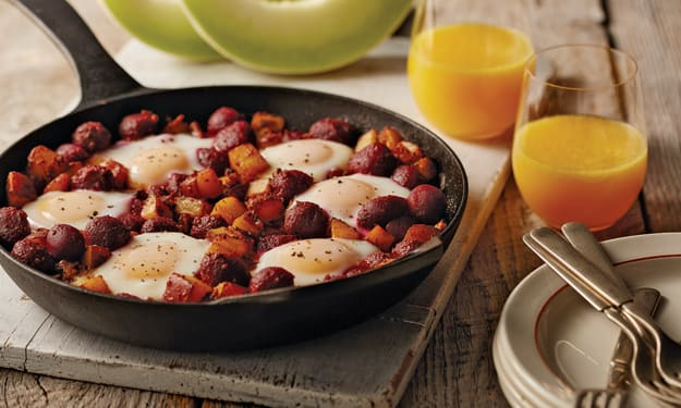 Recipe for Baby Beet and Potato Hash with Chorizo Skillet