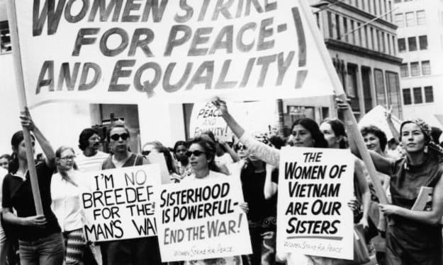 Women having equal rights.