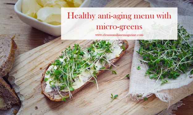 Healthy anti-aging menu with micro-greens
