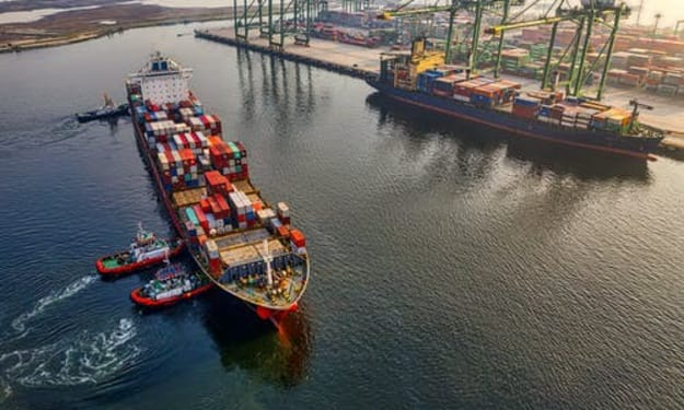 World's largest Shipping Traffic Jam; Giant Container Ship stranded in Suez Canal.