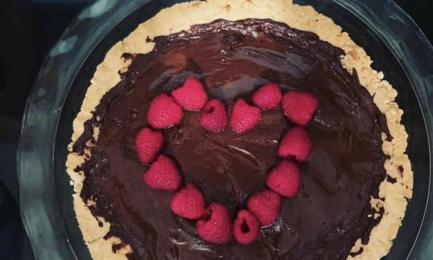 Vegan, Gluten Free Raspberry & Chocolate Tart