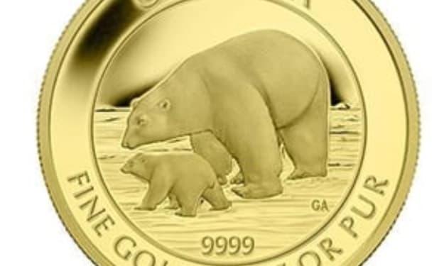 1/4 oz. Gold Canadian Polar Bear and Cub