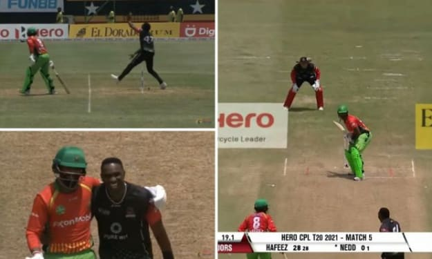 WATCH: Dwayne Bravo Stops To Mankad Mohammad Hafeez, Instead Hugs And Shares A Laugh