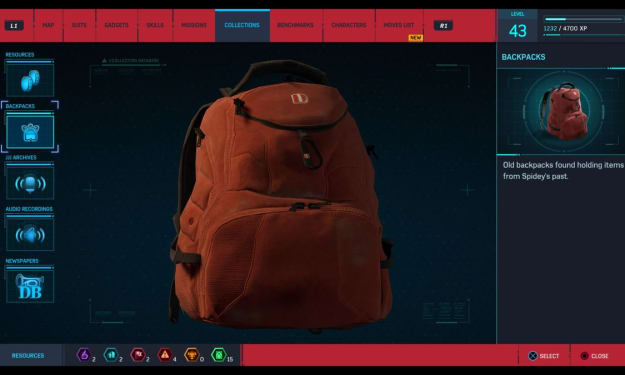 PS4 Spider-Man: Backpack Collections
