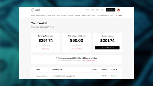 Meet Wallet: The Home for Your Earnings on Vocal