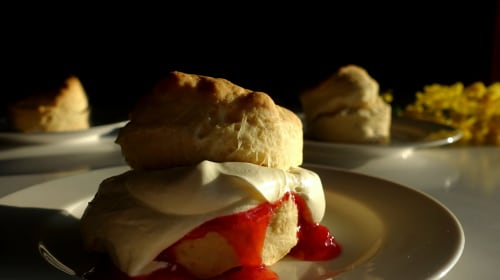 Lemonade Scones with Strawberry Jam and Cream