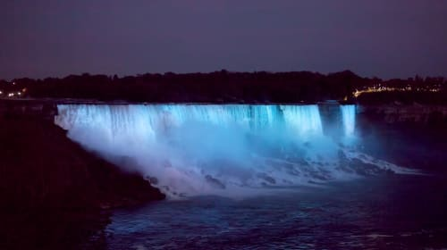 See Niagara Falls at Night with Lights