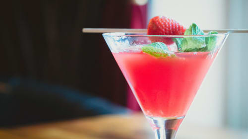 Skinny Strawberry Basil Martini