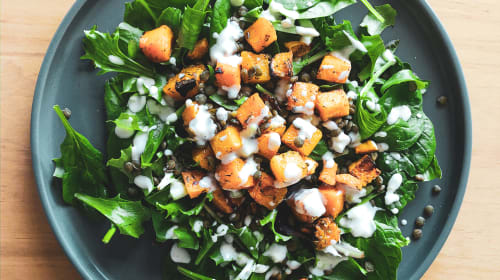 Simple Herby Roast Squash and Green Lentil Salad with a Garlic Mayo Dressing