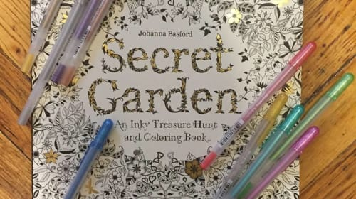 Adult coloring books and gel pens
