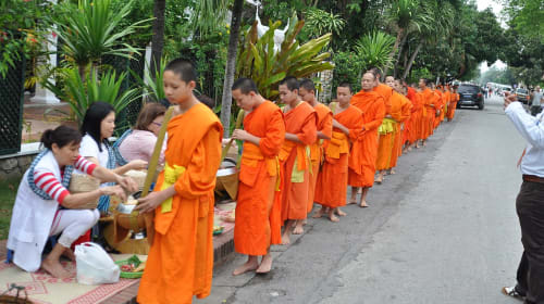 How to participate in Tak Bat Morning Alms Giving Ceremony in Laos